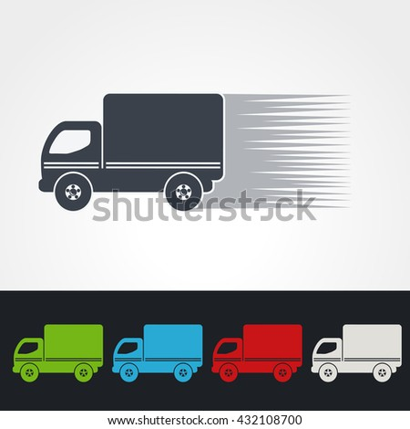Vector symbol of rate of delivery,  icon speed shipping of box, silhouette of truck. Green, grey, blue, red and white color.