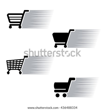 Vector symbol quick purchase, silhouette of shopping trolley.  Simple shopping cart, add to cart item, buy button. Green, grey, blue, red and white color.