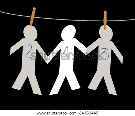 vector symbolic illustration with winners on rope - stock vector