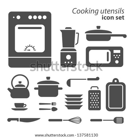 Vector symbols of cooking utensils on white background - stock vector