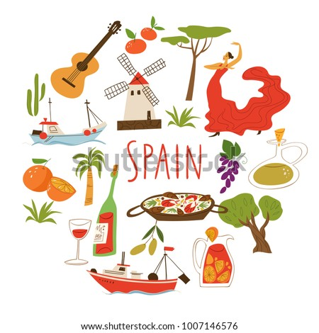 Vector Symbols Spain Culture Food Architecture Stock Vector 2018