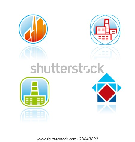 Vector symbols (signs, icons, logos) for construction, real estate industry or other - stock vector