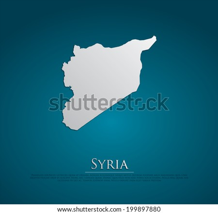 vector Syria Map card paper on blue background, high detailed - stock vector