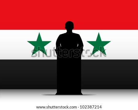 Vector - Syria  Speech Tribune Silhouette with Flag Background