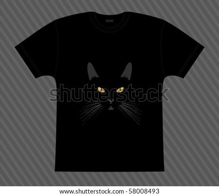 Vector. T-shirt. Black cat in the night - stock vector