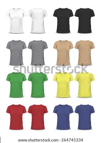 Vector T-shirt, Design template, , raglan sleeve, women and men, u-neck shirt, short sleeved, back and front views, raglan sleeve - stock vector