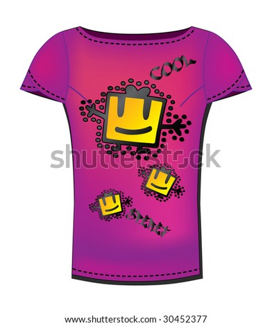 Vector T-shirt design template with gift