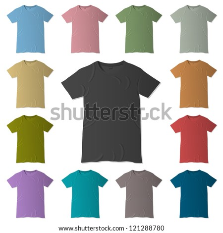 Vector t-shirt design templates in various colors - stock vector