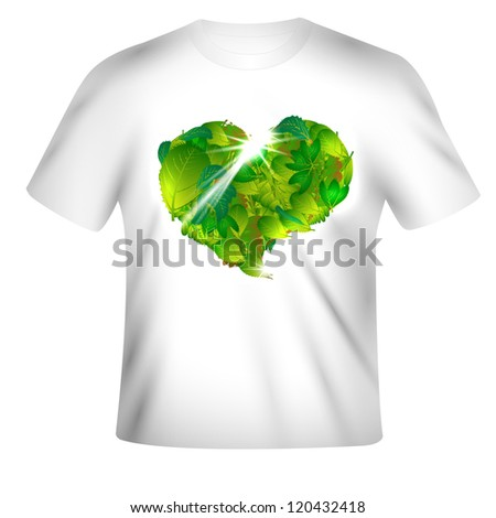 Vector t-shirt design with leaf-heart - stock vector