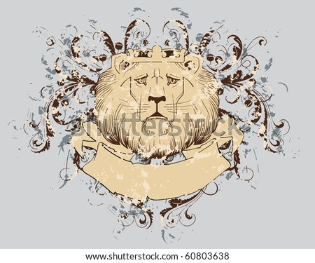 vector t-shirt design with lion (grunge background) - stock vector