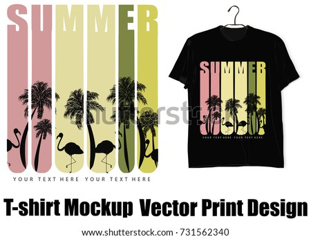 Flamingo design template stock images royalty free images for T shirt mockup vector free