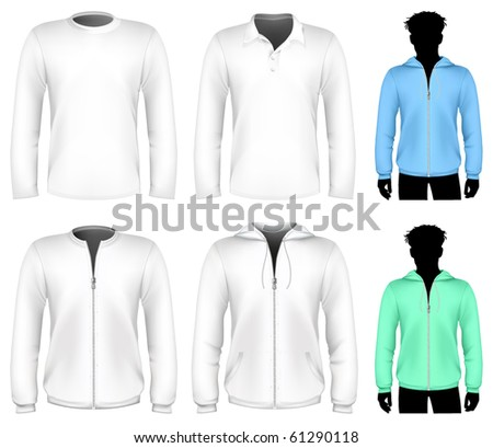 Vector t-shirt, polo shirt and sweatshirt design template. Long sleeve.
