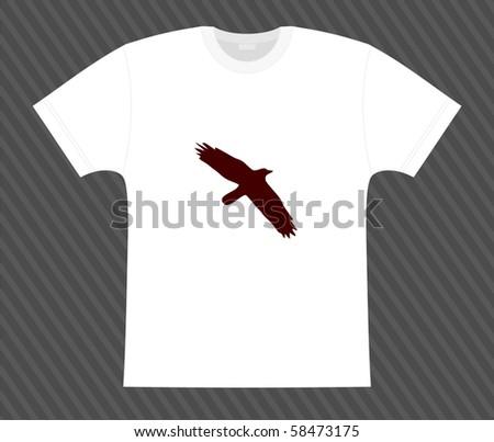 Vector. T-shirt. Raven on the white - stock vector
