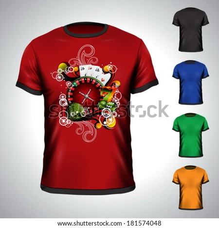 Vector t-shirt set on a casino holiday theme with roulette wheel. EPS 10 illustration. - stock vector