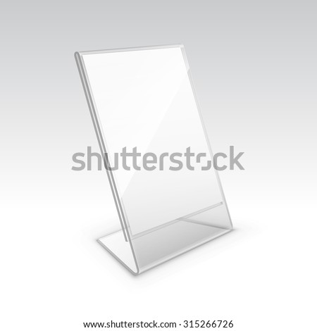 paper brochure holder template - vector table blank transparent plastic stand stock vector