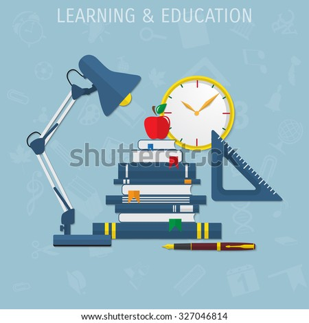 Vector table lamp flat illustration. Education concept object - Eps 10. - stock vector
