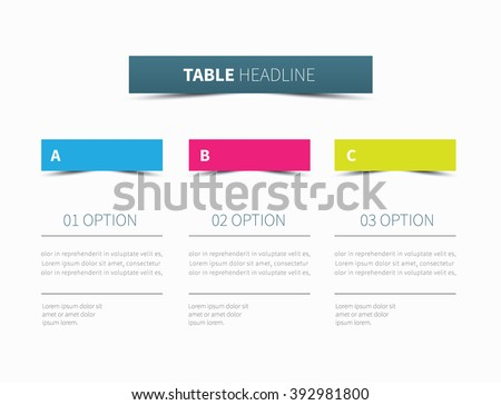 vector table presentation divided into 3 columns / infographic tabular graphic  - stock vector