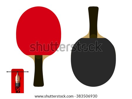 Vector table tennis racket or racquet. red and black. flat style - stock vector