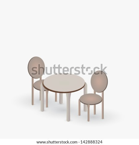 Vector table with a pair of chairs