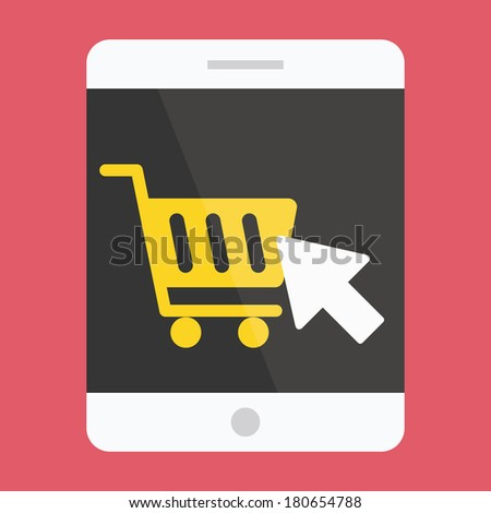 Vector Tablet Buy Online Icon Ecommerce Concept - stock vector