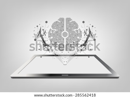 vector tablet computer and holograph technology, digital brain concept - stock vector