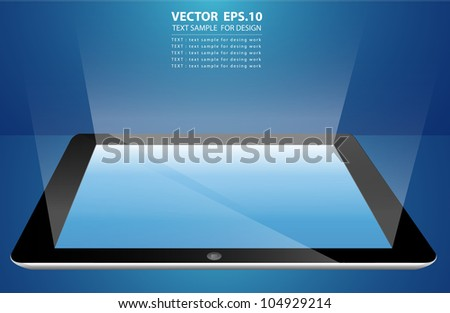 Vector Tablet computer input device. Uneven diffuse lighting version - stock vector
