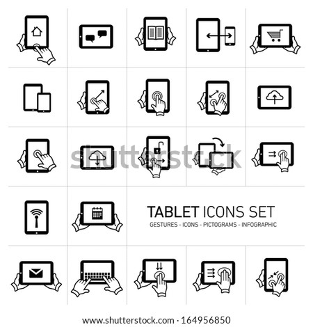 Vector tablet icons set with gestures and pictograms | flat design infographics black on white background - stock vector