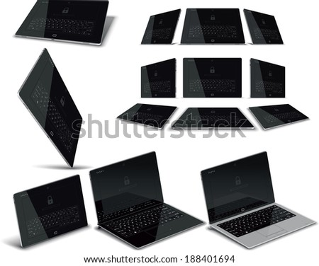 Vector Tablet Multiple Views - Vector illustration of a tablet in high detail from multiple angles. File type: vector EPS AI8 compatible  - stock vector