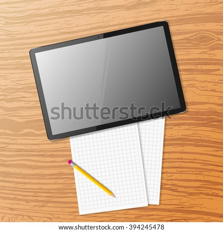 Vector tablet on wooden table - stock vector