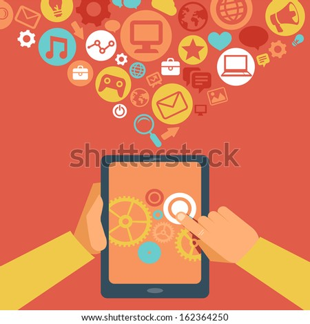 Vector  tablet pc in flat style and social media icons - stock vector