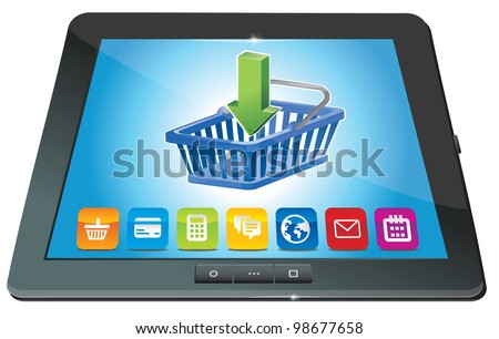 vector tablet pc with shopping cart icon - ecommerce concept - stock vector