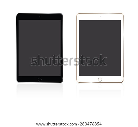 Vector tablet silver and gold on white background - stock vector