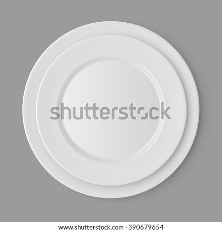 Vector Tableware Set of White Empty Plates Top View Isolated on Background. Table Setting - stock vector
