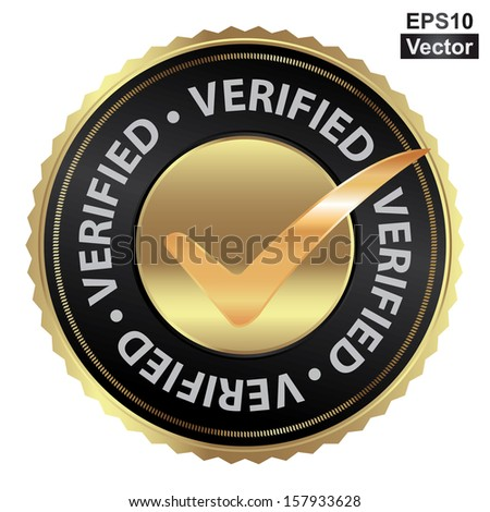 Vector : Tag, Sticker, Label or Badge For Product Certification or Product Verification Present By Golden Verified Icon With Check Mark Sign Inside Isolated on White Background