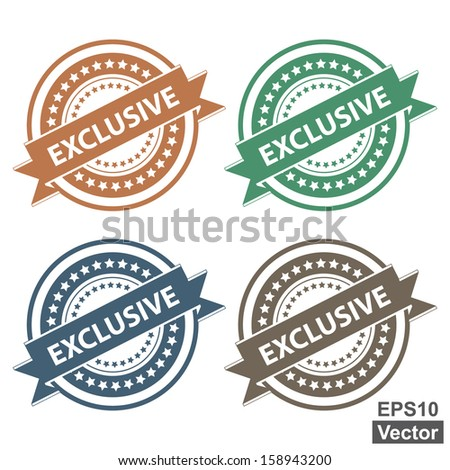 Vector : Tag, Sticker, Label or Badge For Product Certification or Product Verification Present By Colorful Exclusive Ribbon on Colorful Icon Isolated on White Background  - stock vector