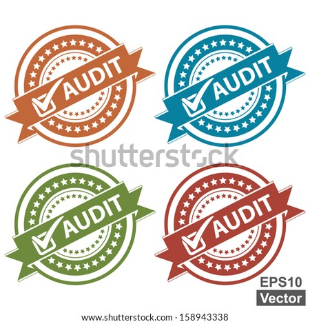 Vector : Tag, Sticker, Label or Badge For Product Certification or Product Verification Present By Colorful Audit Ribbon With Check Mark Sign on Colorful Icon Isolated on White Background  - stock vector