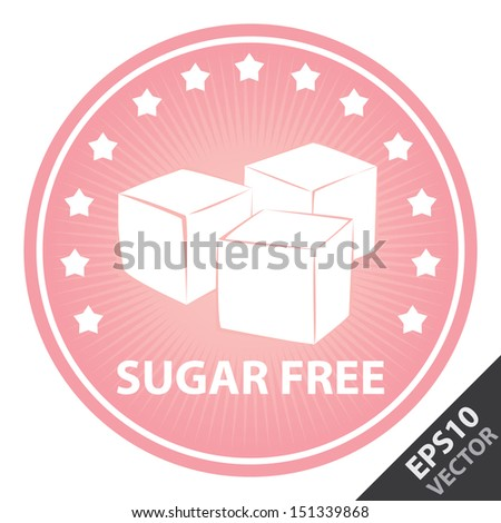 Vector : Tag, Sticker or Badge For Healthy, Weight Loss, Diet or Fitness Product Present By Pink Badge With Sugar Free Text, Cube Sugar Sign and Little Star Around Isolated on White Background  - stock vector