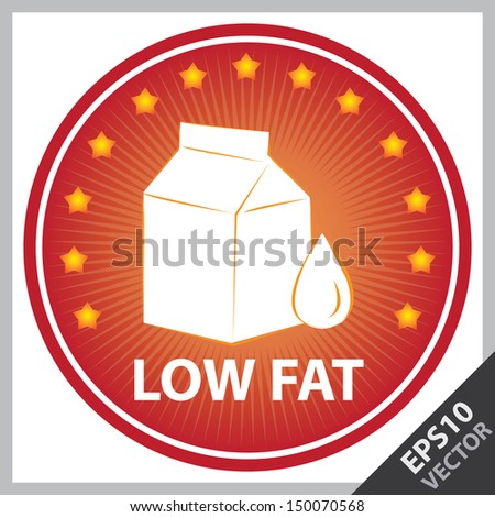 Vector : Tag, Sticker or Badge For Healthy, Weight Loss, Diet or Fitness Product Present By Red Badge With Low Fat Text, Milk Box Sign and Little Star Around Isolated on White Background