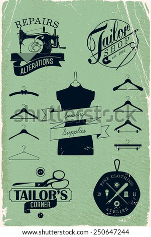 Vector tailor shop, clothing atelier, repairs and alterations shop, sewing supplies labels and insignia graphics with hangers silhouettes, vintage weathered paper texture background  - stock vector