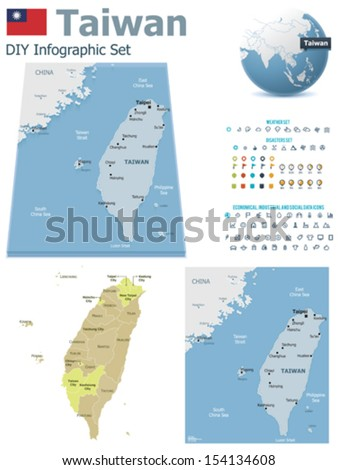 Vector Taiwan maps, Taiwan flag, Earth globe showing country location, map markers and related icon set - stock vector