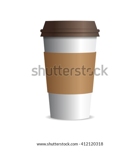 vector takeaway paper coffee cup with brown cap. EPS