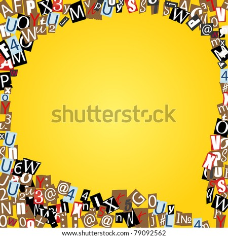 Vector talk bubble of letters from newspaper and magazines on yellow - stock vector