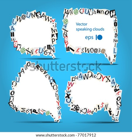 Vector talk bubbles of letters from newspaper and magazines on blue - stock vector