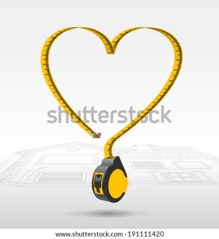 vector Tape measure valentines - stock vector