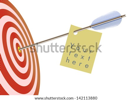 Vector target and arrow with a sticker for your text - stock vector
