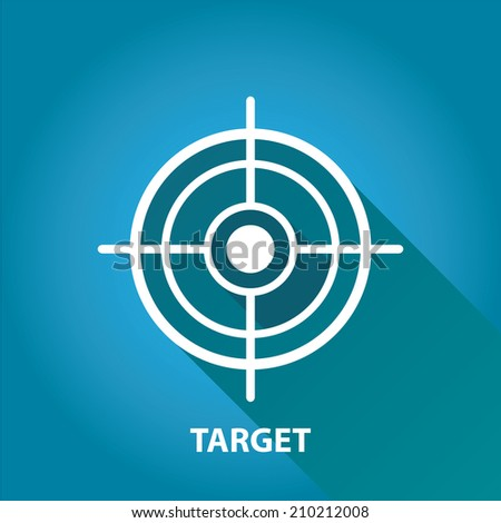 vector target icons .  vector flat white target on blue background. design element for web and logo design - stock vector