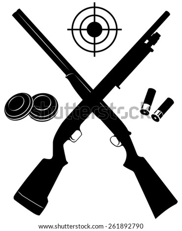 Vector target with two shotguns and ammunition and plates vector illustration - stock vector