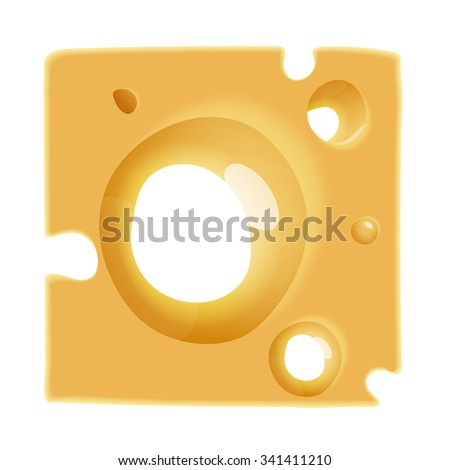vector tasty cheese background texture with hole - stock vector