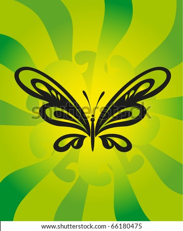 vector tattoo - black butterfly on green background - stock vector