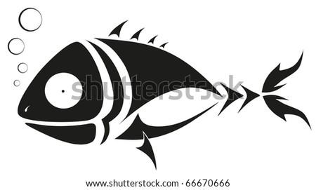 vector tattoo - black fish - stock vector